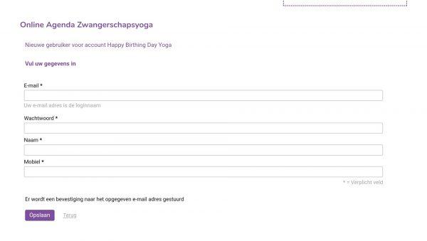 uitleg online agenda zwangerschapsyoga Eindhoven